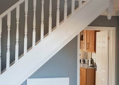Completed Hallway with painted staircase